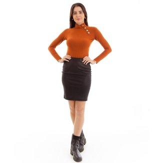 Saia feminina kassis midi básica cintura alta