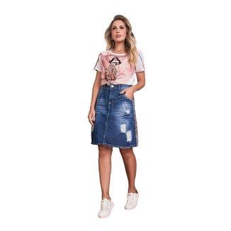 Saia jeans com destroyed e detalhe animal print Fascínius