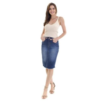 Saia jeans midi, cintura alta com lycra