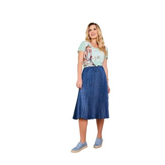 Saia jeans plissada tecido super leve com laço fascínius