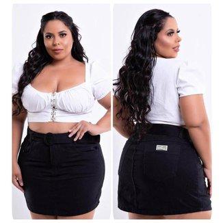 Saia Jeans Plus Size Feminina Com Cinto Cintura Perfeita