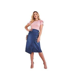 Saia jeans transpassada abertura de botões fascínius