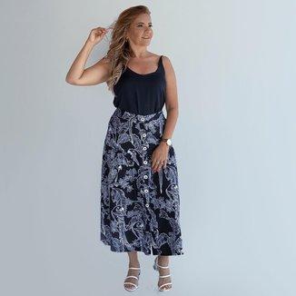 Saia Midi Estampada Dress To Feminina Cintura Alta Novidade