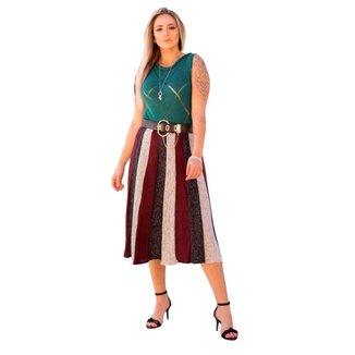 Saia Tricot Isabel III Shopping do Tricô Midi Listrada 3 cores
