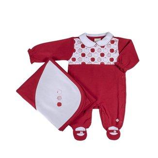Saída De Maternidade Em Suedine Vermelha Maçazinhas - Anjos Baby - Único - Rn