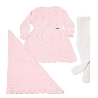 Saída De Maternidade Em Tricô Vestido Fofinho 3 Peças