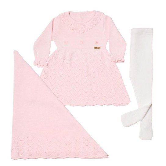Saída De Maternidade Em Tricô Vestido Fofinho 3 Peças - Rosa