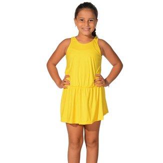 Saída de Praia Infantil Regata Curta com Elástico na Cintura UV 50+ Amarelo