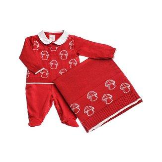 Saída Maternidade Bordada Em Suedine - Anjos Baby - Vermelho - Rn
