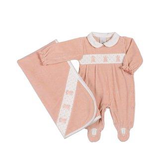Saída Maternidade Em Plush Com Recorte Ursinhas - Anjos Baby - Rosa - Rn