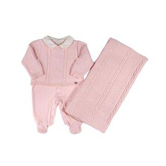 Saída Maternidade Em Plush Com Tricot Corações - Anjos Baby Chic - Rosa - Rn