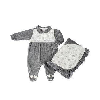 Saída Maternidade Em Plush Mescla Gatinhas - Anjos Baby - Mescla Claro - P