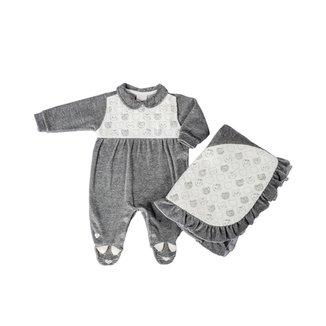 Saída Maternidade Em Plush Mescla Gatinhas - Anjos Baby - Mescla Claro - Rn