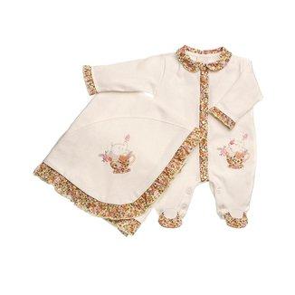 Saída Maternidade Em Suedine Bordada Elefantinha - Anjos Baby - Amarelo - Rn