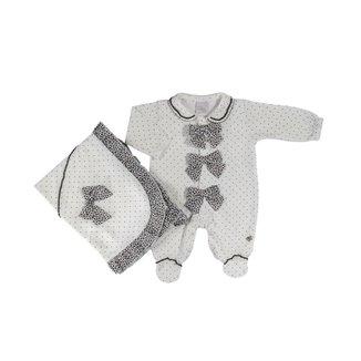 Saída Maternidade Em Suedine Com Poás E Laços De Oncinha  - Anjos Baby Chic - Off White - Rn