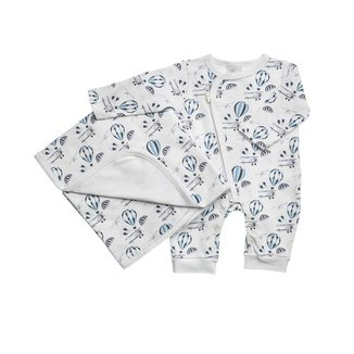 Saída Maternidade Em Suedine Estampada Balãozinho - Anjos Baby - Azul - Rn