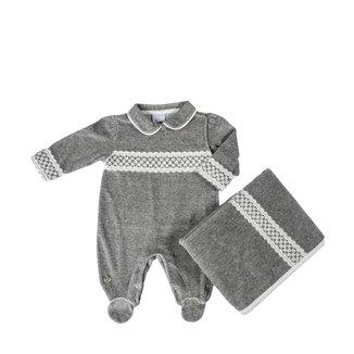 Saída Maternidade Em Suedine Mesla Pérolas - Anjos Baby Chic - Mescla Claro - Rn