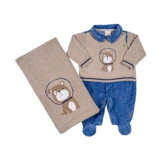 Saída Maternidade Em Tricot Espacial - Anjos Baby - Bege - Rn