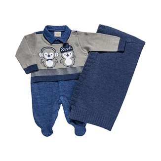 Saída Maternidade Moletinho E Manta Retilinea Masculina - Anjos Baby - Azul - Rn