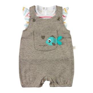Salopete Bebê Ano Zero Suedine Liso e Listrado Peixinho