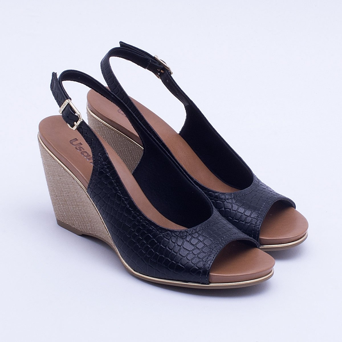 efeab70e1 Sandália Anabela Usaflex Croco - Compre Agora | Netshoes