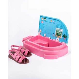 Sandalia Casual Infantil Borracha Com Glitter Barbie 22485