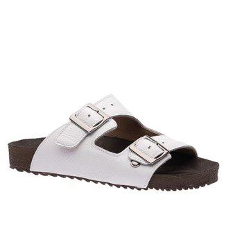 Sandália Feminina Birken  em Couro Floater Branco 214 Doctor Shoes