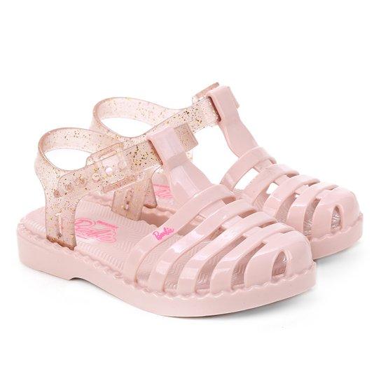Sandália Infantil Grendene Barbie Glitter Feminina - Rosa Claro
