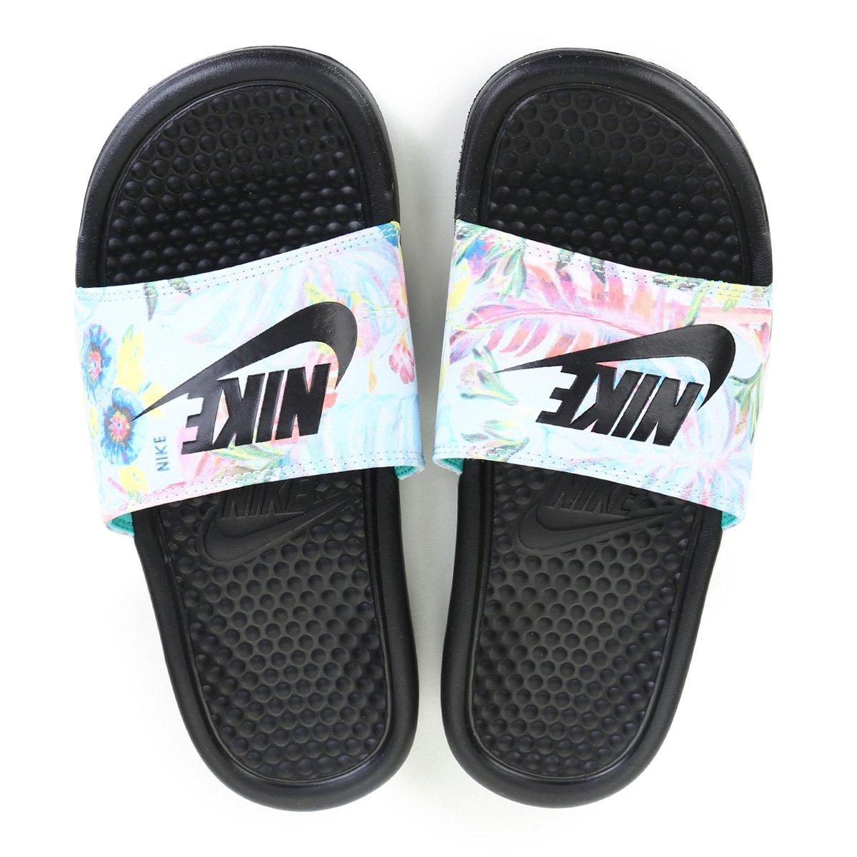 Sandália Nike Benassi Jdi Print Feminina Prata E Preto