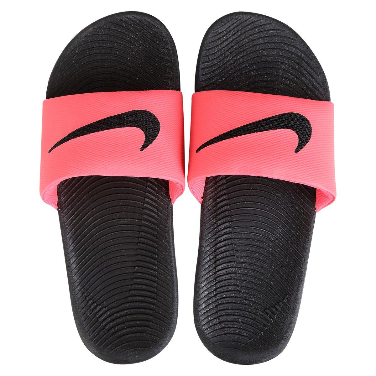 sandália nike wmns kawa slide preto e rosa compre agora netshoes
