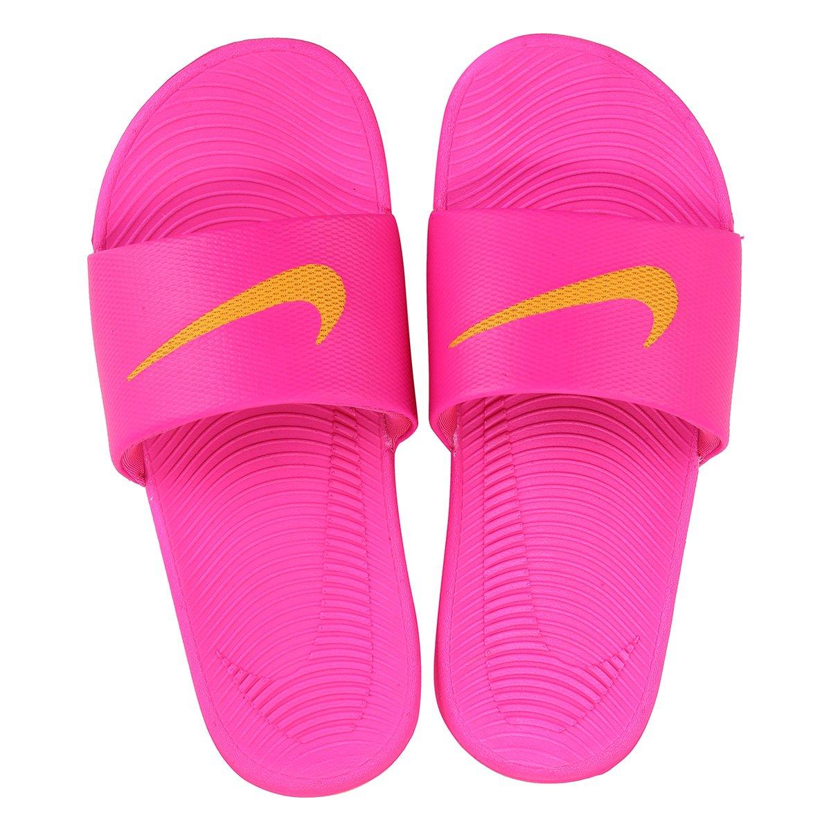 sandália nike wmns kawa slide pink e laranja compre agora netshoes