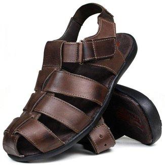 Sandália Papete Masculina de Couro Chocolate 9660