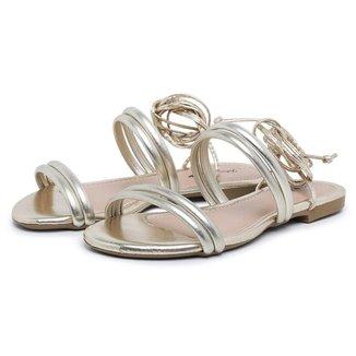 Sandalia Rasteira Carmelo Shoes Transpassada Macia