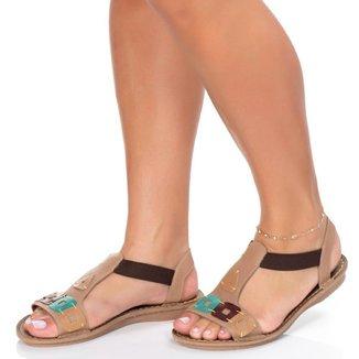 Sandalia Rasteira Roma Shoes em Couro Rasteirinha Retrô Anti Derrapante feminina