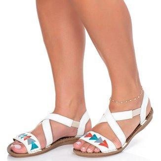 Sandália Rasteira Roma Shoes em Couro Rasteirinha Retrô Anti Derrapante feminina