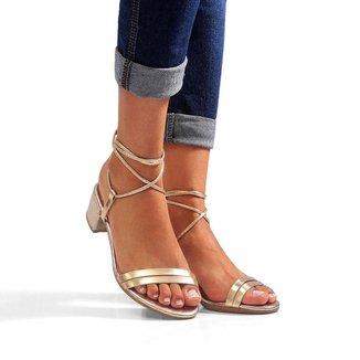 Sandália Salto Bloco Sw Shoes Tiras Luxo