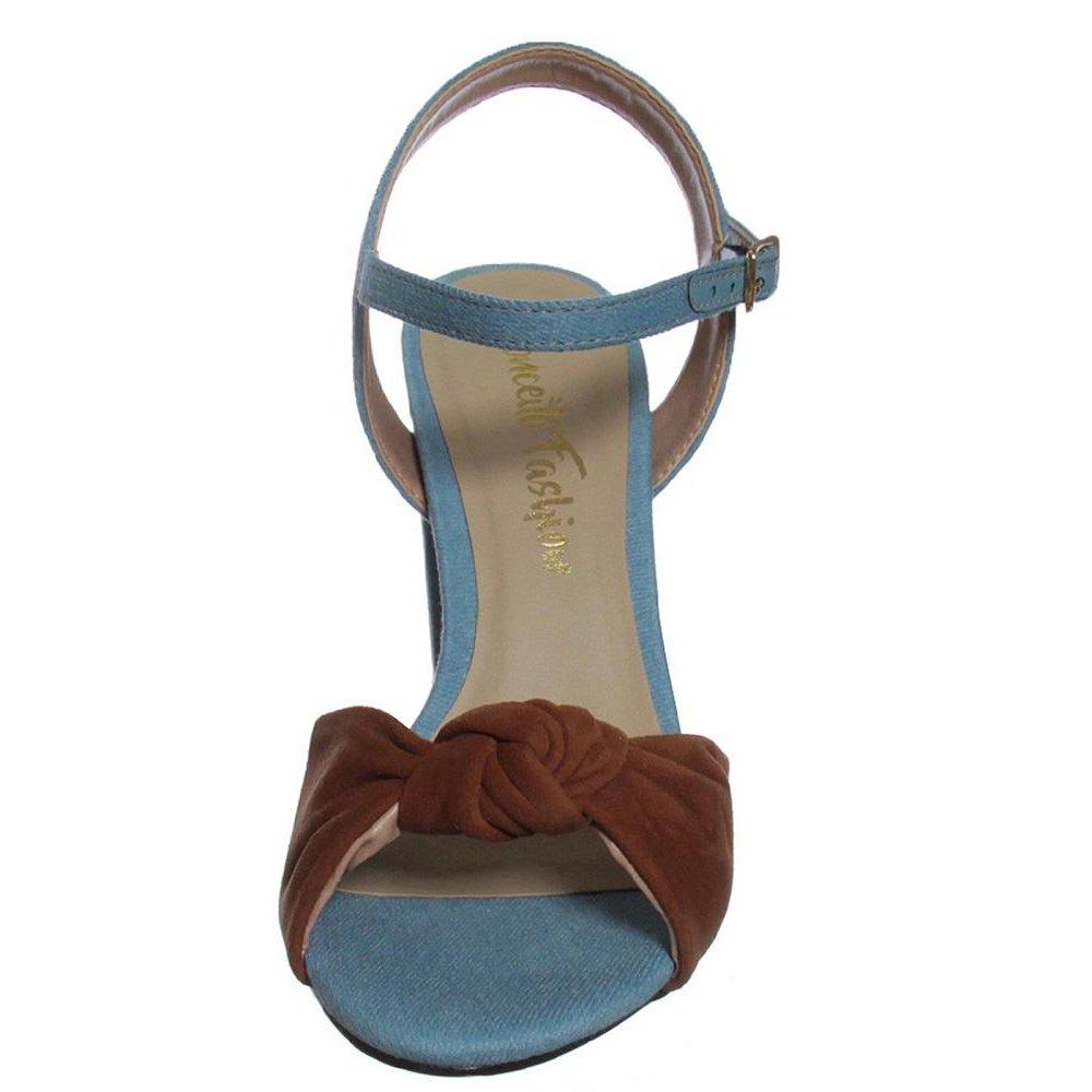 Conceito Conhaque Azul Claro Sandália Couro Salto Fashion Jeans Grosso UqFaE