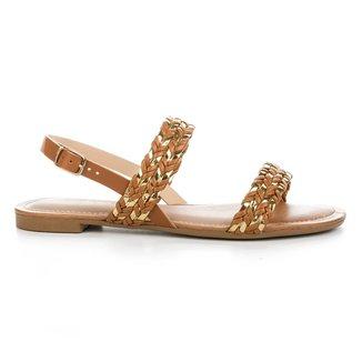 Sandália Trançada Dakota Feminina Z8152 Mascavo/Ouro 36