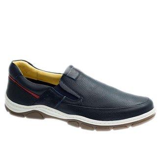 Sapatênis Casual em Couro Floater Marinho/Roma Marinho/Framboesa 1918 Doctor Shoes