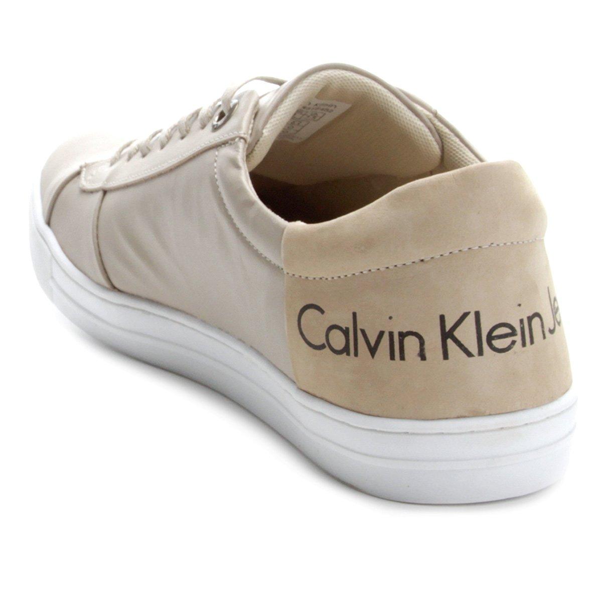 Masculino Bege Klein Calvin Sapatênis Couro Sapatênis Branco e Couro Twq8Zg8X