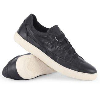 Sapatênis em Couro Meu Sapato Way Maker Preto com Elástico Tamanho 48