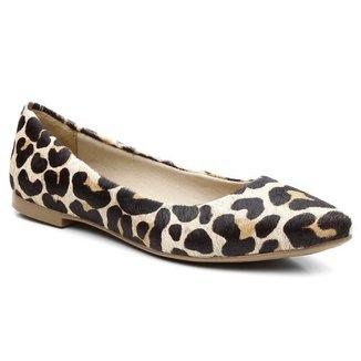 Sapatilha Bico Fino Casual Comfort Couro - Pelo Leopardo