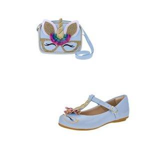 Sapatilha e Bolsa Flib Calçados Feminino Infantil Unicórnio Colorido