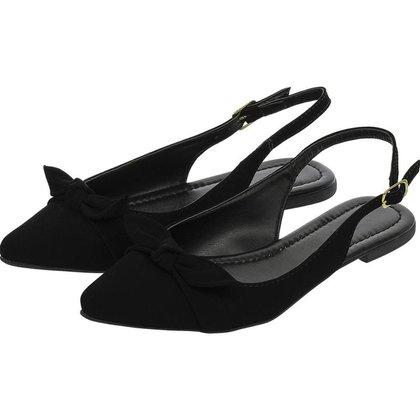 Sapatilha Feminina Aberta Donatella Shoes Slingback Rasteira Mule Laço