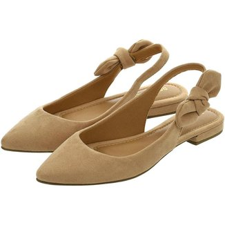 Sapatilha Feminina Aberta Donatella Shoes Slingback Rasteira Mule Nó Lateral