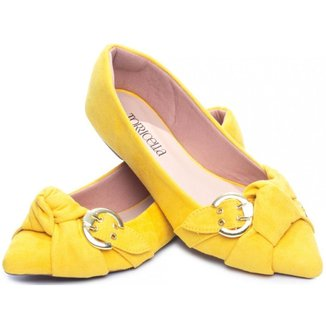 Sapatilha Feminina Amarela Camurça Laço Fivela Dourada