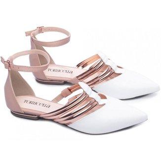 Sapatilha Feminina Branca Rosê Metalizada Specchio Estilosa