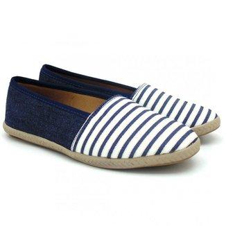 Sapatilha Feminina Confort Jeans Azul Com Listras