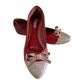 Sapatilha feminina Vermelha com dourado bico fino
