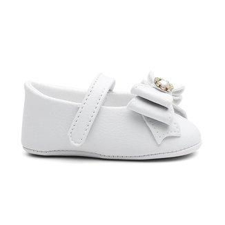 Sapatilha Infantil Menina Branca Laço Batizado Conforto